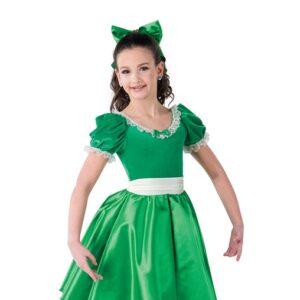 H568  Party Dresses Velvet Satin Lace Christmas Inspired Performance Character Dance Dress Kelly