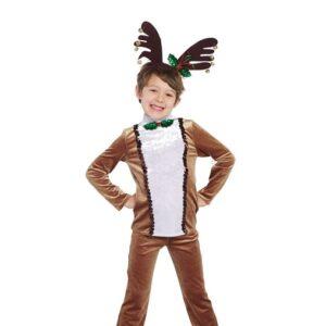 H573  Run Run Rudolph Crushed Velvet Reindeer Character Boys Dance Top