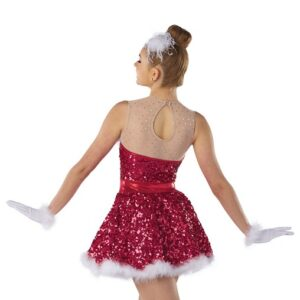 H575  Jingle Bell Rock Paillette Sequin Christmas Inspired Performance Dance Costume Back