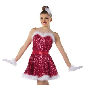 H575  Jingle Bell Rock Paillette Sequin Christmas Inspired Performance Dance Costume Red
