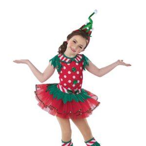 H577  Buddy Sequin Polka Elf Inspired Performance Character Dance Costume
