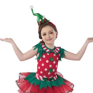 H577  Buddy Sequin Polka Elf Inspired Performance Character Dance Costume Front