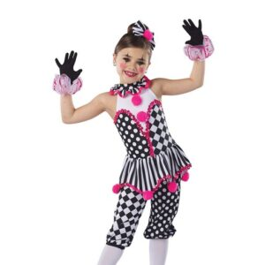 H578  Under The Big Top Christmas Clown Inspired Performance Character Dance Leotard With Pants