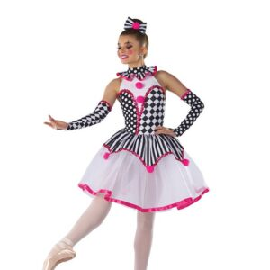 H578  Under The Big Top Christmas Clown Inspired Performance Character Dance Leotard With Tutu Skirt
