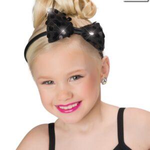 H63  Sequin Bow Headband Dance Costume Accessory Black