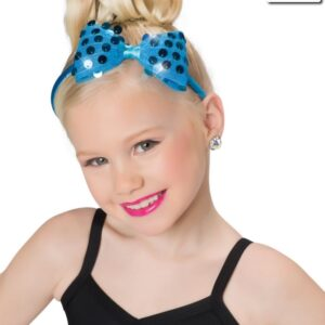 H63  Sequin Bow Headband Dance Costume Accessory Turquoise