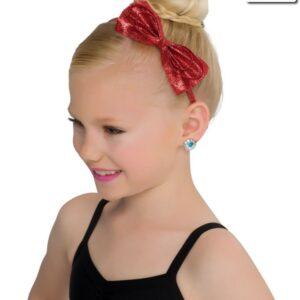 H66  Glitter Bow Headband Dance Costume Accessory Red
