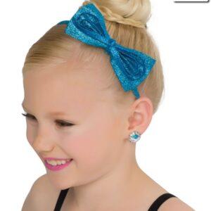 H66  Glitter Bow Headband Dance Costume Accessory Turquoise
