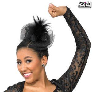 H71  Bow Fascinator Dance Costume Accessory Black