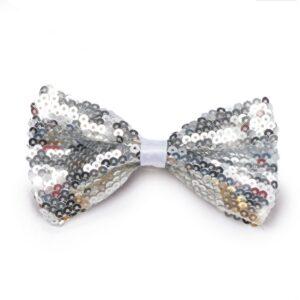 J B33  Sequin Bow Barrette Dance Costume Accessory Silver