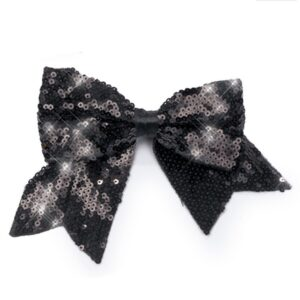 J B34  Sequin Bow With Tails Barrette Dance Costume Accessory Black