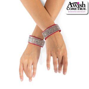 J D21  Rhinestone Bracelet Dance Costume Accessory Red