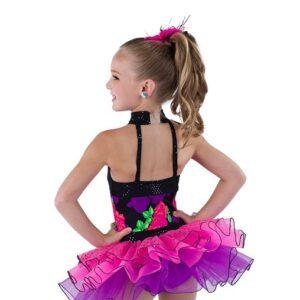Kids Floral Print Tap Dance Costume Back