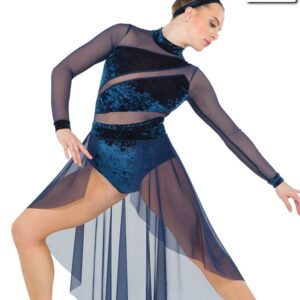 S261  Ending Contemporary Competition Performance Dance Leotard With Skirt Navy