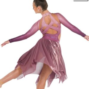 S272  Fear Of The Water Lyrical Competition Performance Dance Leotard With Skirt Mauve Back