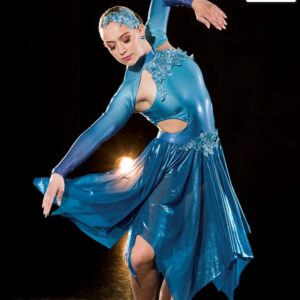 S272  Fear Of The Water Lyrical Competition Performance Dance Leotard With Skirt Teal