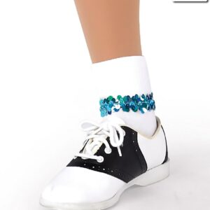 S51  Socks  With Sequin  Dance  Costume  Accessory  Turquoise