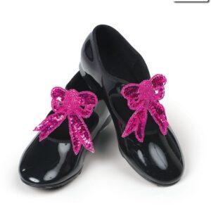 S B01  Sequin Shoe Bows Dance Costume Accessory Fuchsia