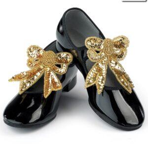 S B01  Sequin Shoe Bows Dance Costume Accessory Gold