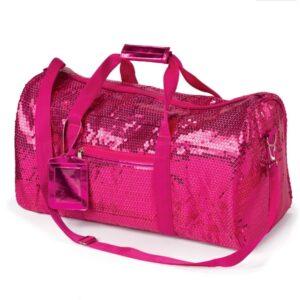 S D01  Sequin Duffel Bag Fuchsia