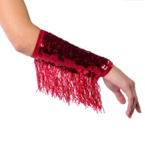 T1831M Fringe Mitts Team Cheer Performance Accessory Red