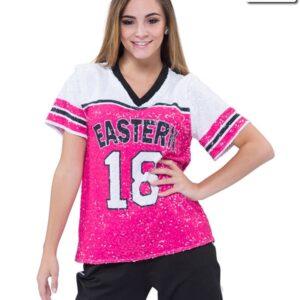 T2001  Football Shirt Sequin Spandex Mesh Cheer Team Top