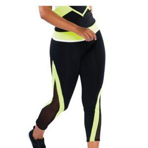 T2057  Cheer Team Mesh Panel Capri Pants Chartreuse