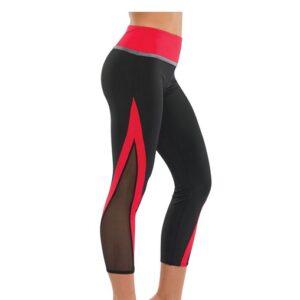 T2057  Cheer Team Mesh Panel Capri Pants Red