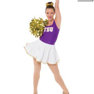T2065  Sequin Circle Skirt Team Cheer Pom White Gold
