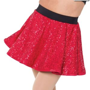 T2065  Sequin Circle Skirt Team Cheer Red Black