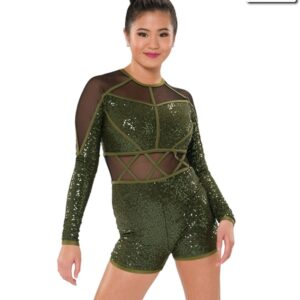 T2101  Caged Cheer Team Shortall Olive Front