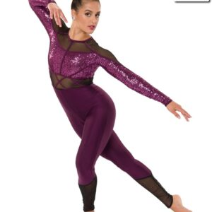 T2102  Caged Cheer Team Unitard Eggplant Front