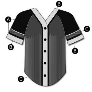 T2125  Baseball Shirt Matte Sequin Cheer Team Silhouette
