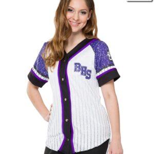 T2125  Baseball Shirt Matte Sequin Cheer Team Truecolors Front