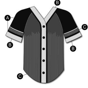 T2126  Baseball Shirt Dryfit Cheer Team Silhouette