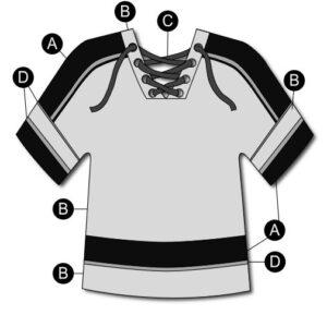 T2132  Hockey Jersey Mesh Shirt Cheer Team Silhouette