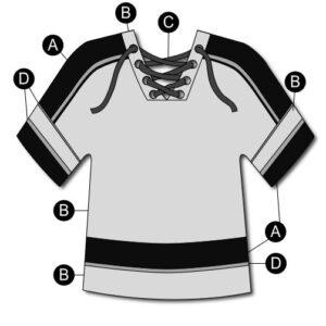 T2134  Hockey Jersey Dryfit Shirt Cheer Team Silhouette
