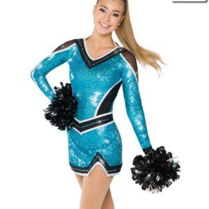 T2143  Diva Cheer Team Pom Turquoise Dress Front