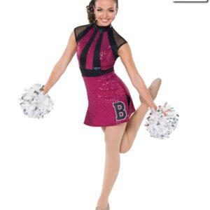 T2151  Bounds Cheer Team Pom Dress Fuchsia Front