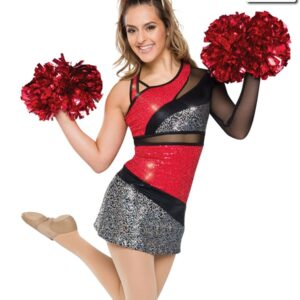 T2161  Dynamite Cheer Team Pom Dress Red Front