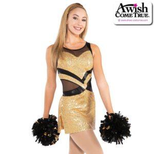 T2184  Warrior Cheer Pom Dance Sequin Dress Gold