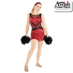 T2184  Warrior Cheer Pom Dance Sequin Dress Red