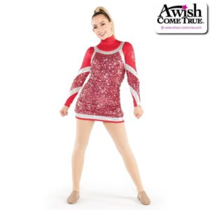 T2188  Steady Cheer Pom Dance Luxe Sequin Dress Red