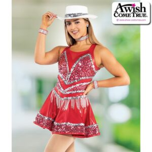T2190  Upbeat Team Cheer Cowgirl Dress With Icicle Fringe
