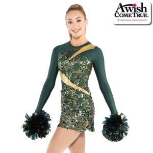 T2192  Glitzy Cheer Pom Dance Sequin Dress Hunter