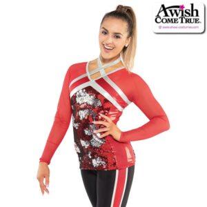 T2206  Idols Cheer Pom Dance Flip Sequin Long Sleeve Top