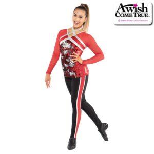T2206  Idols Cheer Pom Dance Flip Sequin Long Sleeve Top With Leggings