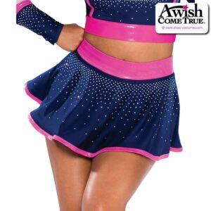 T2208  Cheer Team Dance Flounce Skirt Fuchsia