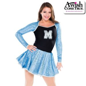 T2223  Awards Cheer Team Pom Dance Sequin Leotard With Circle Skirt