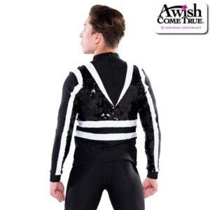 T2228  No Roots Cheer Team Dance Mens Sequin Top Back